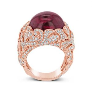 Cabochon Rubellite and Diamond Ring