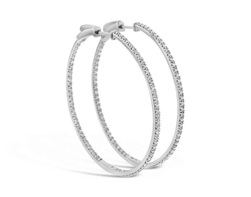 1ct diamond hoop earrings