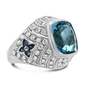 Aquamarine and diamond petal ring