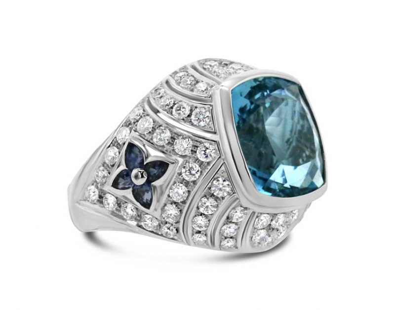 Aquamarine and diamond petal ring