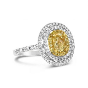 Yellow diamond triple halo ring