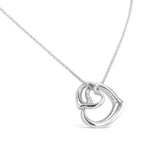 White Gold double heart pendant