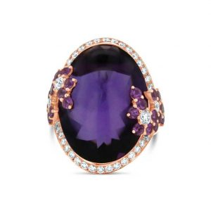 Cabochon Amethyst, Pink Sapphire and diamond ring