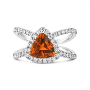 Spessartine and Dimond Trillion ring