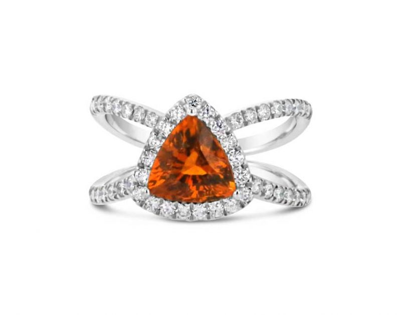 Spessartine and Dimond Trillion ring