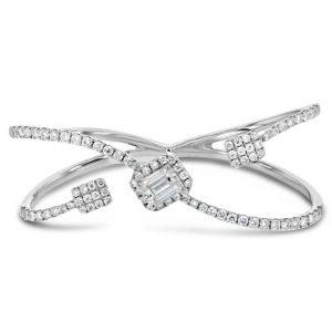 Diamond Princess cut two finger ring